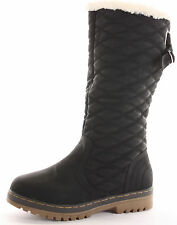 WOMENS GIRLS BLACK KNEE HIGH CALF QUILTED FUR LINED WINTER SNOW BOOTS SIZE 5 UK
