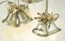 Gold Glitter Festive Bells Hanging Christmas Tree Ornaments x4