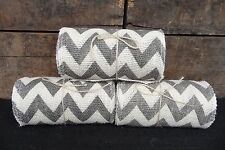 "OFF WHITE & GRAY CHEVRON BURLAP RIBBON ~ 15 Feet  5 1/2"" Wide Crafts Wreaths NEW"