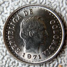 COLOMBIA 20 CENTAVOS 1971 UNC DIVIDED LEGEND  KM#245 SCARCE !!