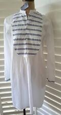 Polo Ralph Lauren 6 NWT $198 white cotton Shirt dress tunic blue Striped bib L/S