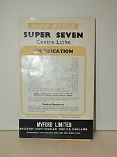 "MYFORD HIGH SPEED SUPER SEVEN 3 1/2"" CENTER LATHE CATALOG  (JRW#015)"