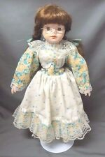 """16"""" Porcelain & Cloth Doll w/Eyeglasses, Braided Hair, Clothing, Shoes & Stand"""