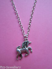 """Girls Silver Unicorn Charm 18"""" Necklace New in Gift Bag Xmas Stocking Filler"""
