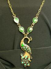 Retro Vintage Fashion Pendant Chain Green Enamel Peacock Necklace Jewlery Gift