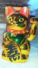 Joblot of 12 Gold Colour Chinese Lucky cats new wholesale 15.5 cm high
