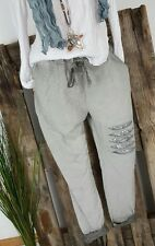 NEU ITALY ☆ BAGGY BOYFRIEND HOSE SWEAT PANTS ★ DESTROYED  PAILLETTEN☆ GRAU 40-44