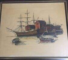 Vintage Oil Painting Of Boats Candelas