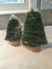 "Dept 56 Green Wire Christmas Tree Wood Bases Lot Of 2 8"" And 11"" New"