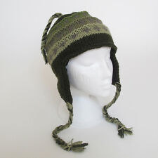 Funky HAND Knitted Invernale di Lana a Costine Peruviana Stile Earflap CAPPELLO UNISEX reh11