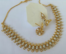 Bollywood fashion jewellery gold tone  mango necklace set with earring 10057