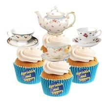 Vintage tiempo para el té Collection (1) 12 Comestibles Stand Up Oblea papel Cake Toppers