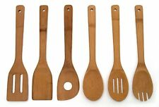 Lipper International 826 Set of 6 Bamboo Kitchen Tools in Mesh Bag NEW