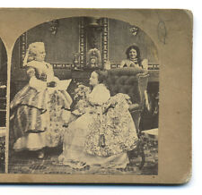 1860s European Genre Stereoview Mother Reads Letter to Daughter While Page Overh