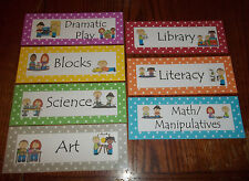 7 Laminated Learning Center Zone Cards.  Daycare supplies and accessories.