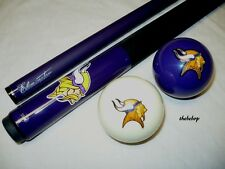NFL Minnesota VIKINGS Billiard Pool Cue Stick & Team Logo Cue Ball Combo ~ NEW !