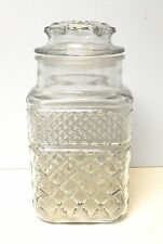 Anchor Hocking WEXFORD Canister JAR & Seal Lid Large Square Glass Storage Diamon