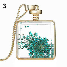 Women Dried Flower Square Pendant Gold Plated Necklace Charm Chain Jewelry Gift