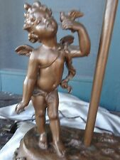 ANTIQUE VICTORIAN BRONZE GILT FIURAL CHERUB OLD MAN WINTER METAL TABLE LAMP