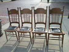 ANTIQUE 1900'S SPINDLE BACK * Brass Embelish  WOOD DINING ROOM CHAIRS SET OF 4
