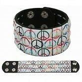 Mens 3 Row Peace Sign Pyramid Studded Wristband Black - Emo Metal Gothic
