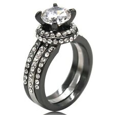 Size 5 6 7 8 9 10 11 Black Wedding Engagement Ring Three in One AAA Grade CZ