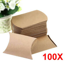 100Pcs Brown Kraft  Paper Pillow Candy Box Wedding Favor Gift Party Supply