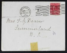 Lot288A CANADA GV ITC 2c War Tax, old Cover April 3, 1916 Winnipeg to Summerland