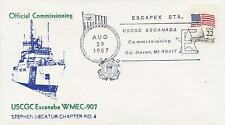 USCGC ESCANABA WMEC-907 COMMISSIONING DAY 1987 NAVAL TOPICAL SHIP COVER MILITARY