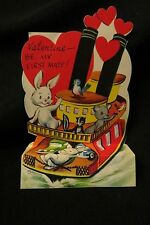 Vintage Automobile CARRYING TUG BOAT Valentine card c. 1950s