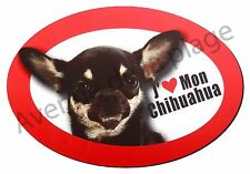 """Magnet chien """"J'aime mon Chihuahua"""" pour frigo / voiture idée cadeau NEUF"""