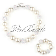 pearl White Chunky Beads Bubblegum Gumball Girls Jewlery Necklace&Bracelet Set