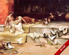 ANCIENT ROMAN WOMEN WITH PIGEONS & DOGS PAINTING ROME ART REAL CANVAS PRINT