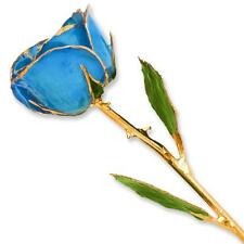 Flowers & Leaves Lacquer Dipped 24K Gold Trimmed Genuine Single Stem Blue Rose