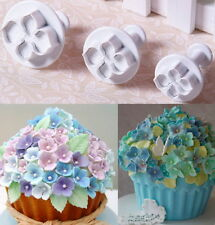 3pcs Hydrangea Flower Fondant Cake Decorating SugarCraft Plunger Cutters Mould @