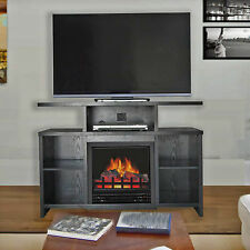 Electric Fireplace TV Stand Entertainment Center Wood Media Console Flame Heater