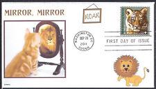 CAT-  LION  MIRROR MIRROR   TIGER STAMP   VANISHING SPECIES FDC- DWc CACHET