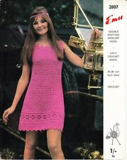 VINTAGE CROCHET PATTERN PRETTY DRESS W FLOWER BORDER