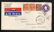 1941 Clipper Air Mail Cover--Wall St Station, New York to Zurich, Switzerland