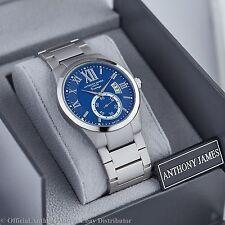 MENS WATCH AUCTION! DESIGNER ANTHONY JAMES VINTAGE BLUE DIAL, QUARTZ SRP £455