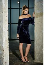 Jessica Wright Dress 16 BNWT Blue Velvet Choker Party Bardot Midi Jessy £70