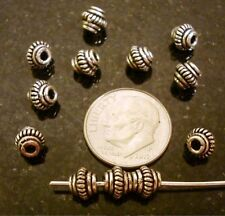 12 handmade oval spacer beads silver plated fpb004