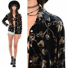 Vintage 90s Velvet ROSE Floral Goth Grunge Gypsy Oversized Long Shirt Jacket Top