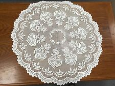 "NEW Heritage Lace 30"" Round White Table Topper-Heart & Flower Pattern"