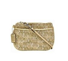 COACH Gold Lurex Wristlet Clutch Gold Metallic Leather