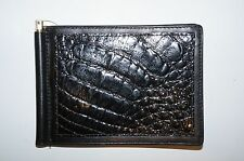 Vintage 1980's Bond Street Ltd.Caiman Crocodile Black Money clip Wallet NEW