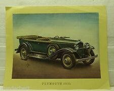 *- Classic CARS offset LITHOGRAPHIE 1969 - PLYMOUTH 1931 -