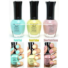 3 KLEANCOLOR NAIL POLISH PASTEL TEAL, YELLOW, SHEER COCOA SET LACQUER 3SET19