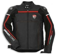 BLACK DUCATI CORSE MOTORBIKE LEATHER JACKET-FULL PROTECTION