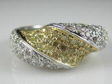 Diamond Dome Cluster Ring 14K White Yellow Gold Fine Jewelry Designer Cocktail